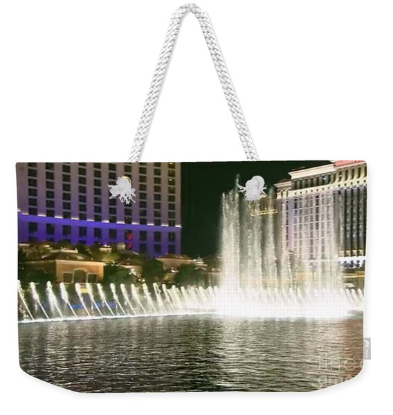 Mesmerizing Fountains Show Water Falls Casino Towers Las Vegas Ugly Picture Is High Use Of Water Ele Weekender Tote Bag