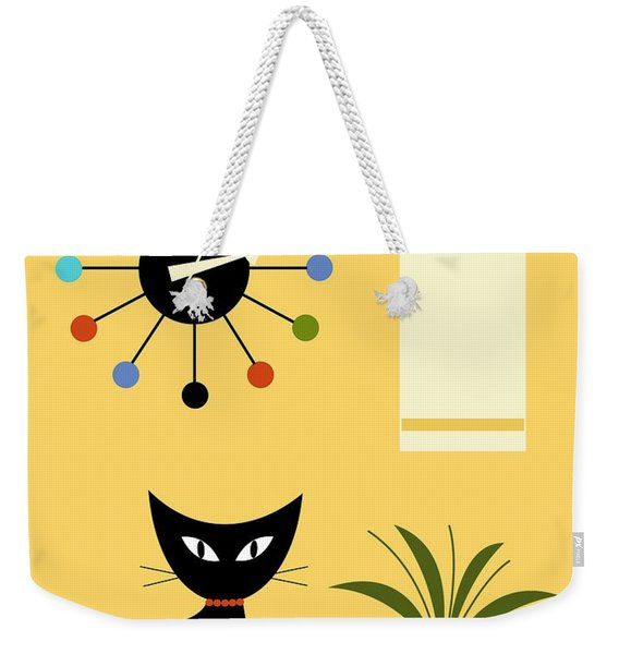 Weekender Tote Bag featuring the digital art Mid Century Ball Clock 3 by Donna Mibus