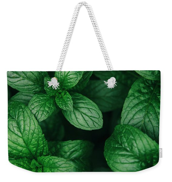 Mint Green Leaves Pattern Background Weekender Tote Bag