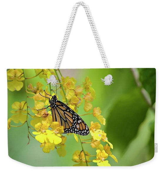 Monarch Butterfly On Yellow Orchids Weekender Tote Bag