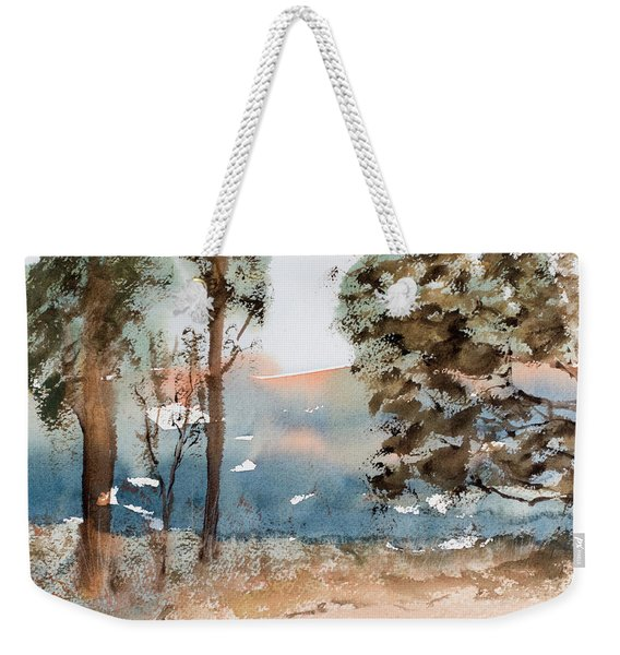 Mt Field Gum Tree Silhouettes Against Salmon Coloured Mountains Weekender Tote Bag