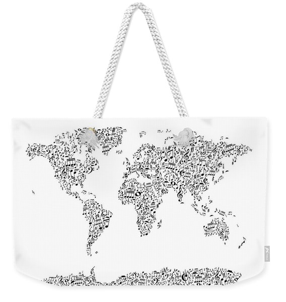 Music Notes Map Of The World Weekender Tote Bag