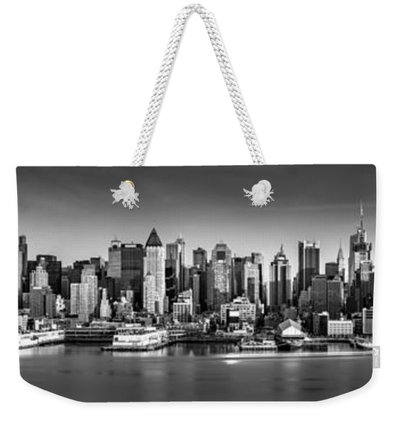 Weekender Tote Bag featuring the photograph New York City Panorama by Mihai Andritoiu