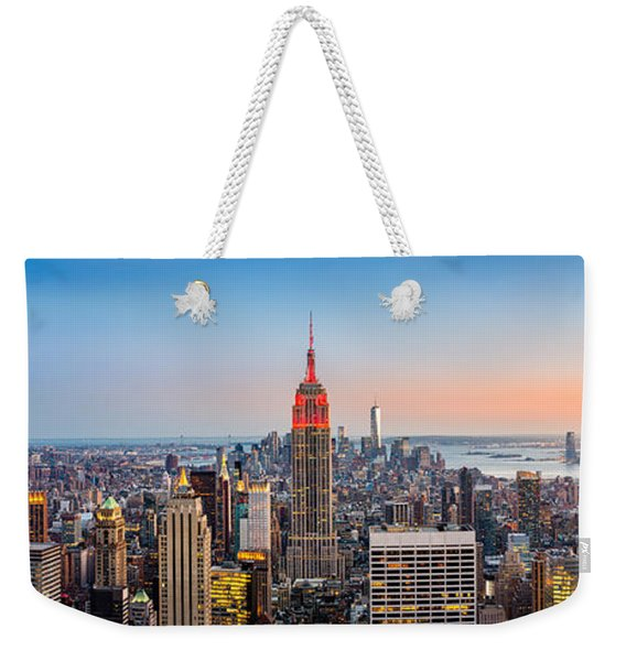 Weekender Tote Bag featuring the photograph New York Skyline Panorama by Mihai Andritoiu