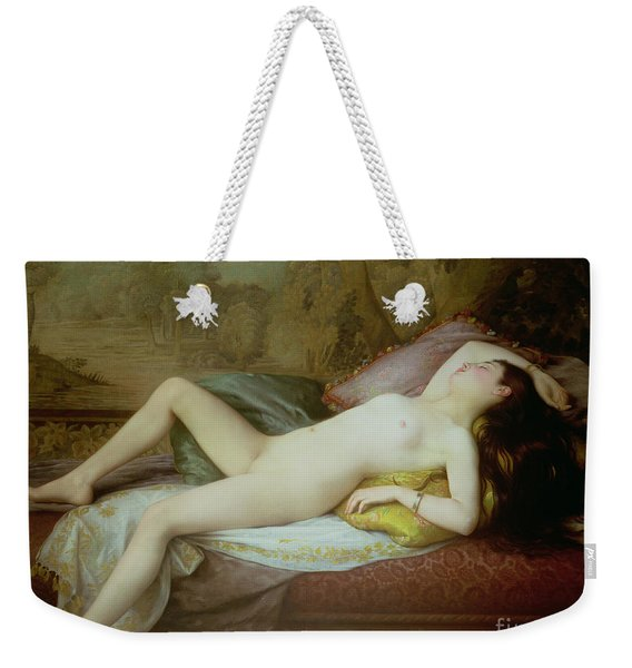 Nude Lying On A Chaise Longue Weekender Tote Bag