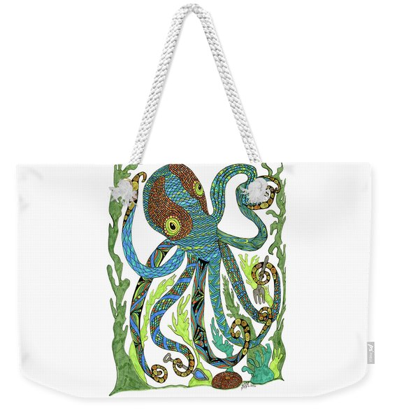 Weekender Tote Bag featuring the drawing Octopus' Garden by Barbara McConoughey
