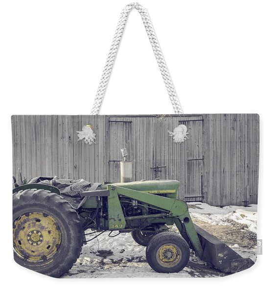 Old Tractor By The Grey Barn Weekender Tote Bag