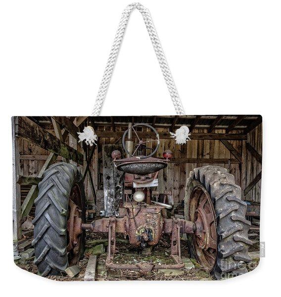 Old Tractor In The Barn Weekender Tote Bag