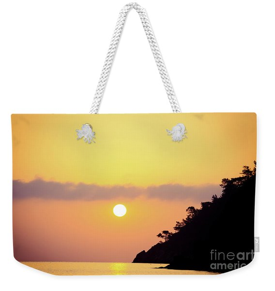Orange Sunrise Above Sea Weekender Tote Bag