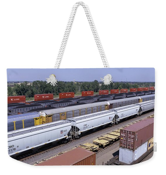 Panoramic View Of Freight Cars At Union Weekender Tote Bag