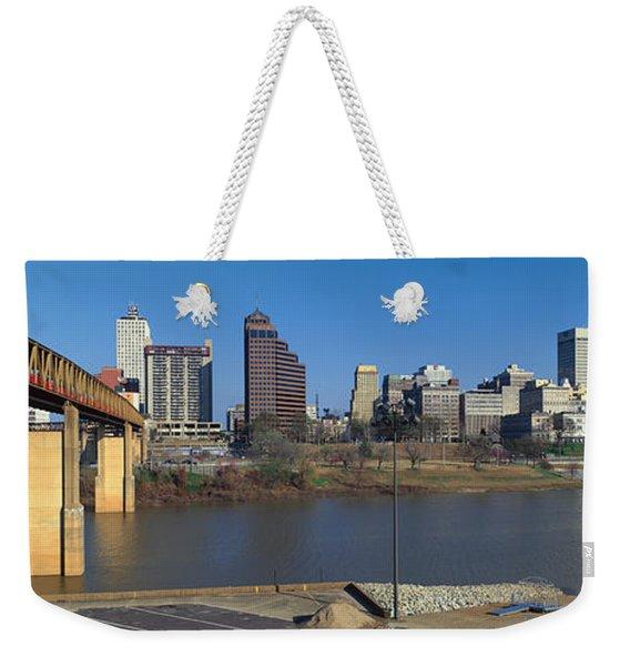 Panoramic View Of Memphis, Tn Skyline Weekender Tote Bag