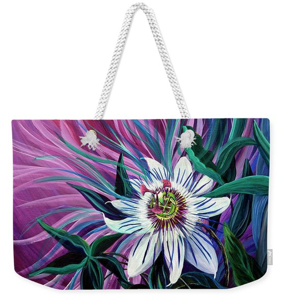Weekender Tote Bag featuring the painting Passion Flower by Nancy Cupp