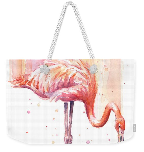 Pink Flamingo - Facing Right Weekender Tote Bag