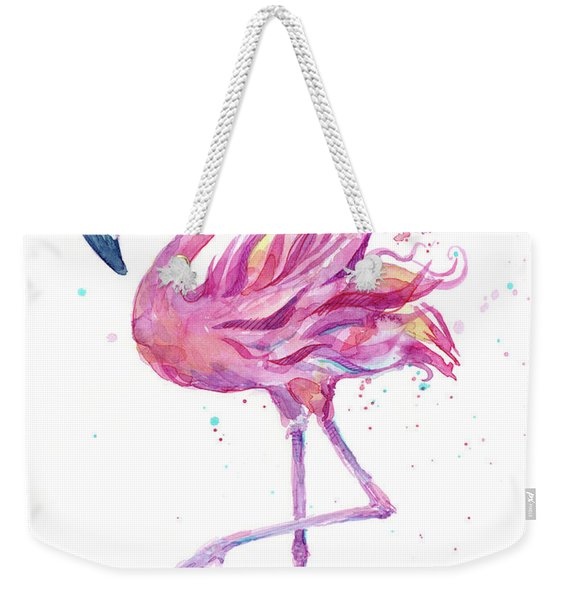 Pink Flamingo Watercolor Weekender Tote Bag