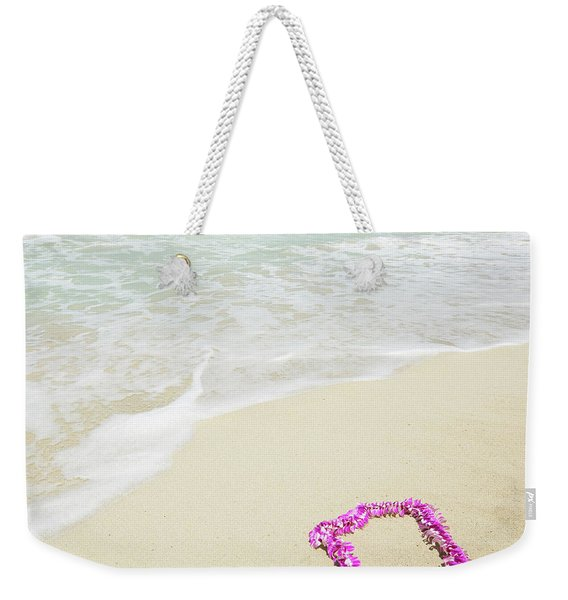 Pink Lei On Beach - Hipster Photo Square Weekender Tote Bag