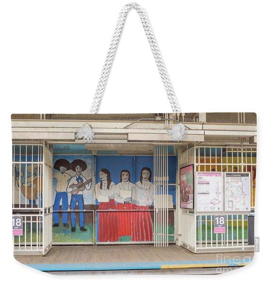 Pink Line Weekender Tote Bag