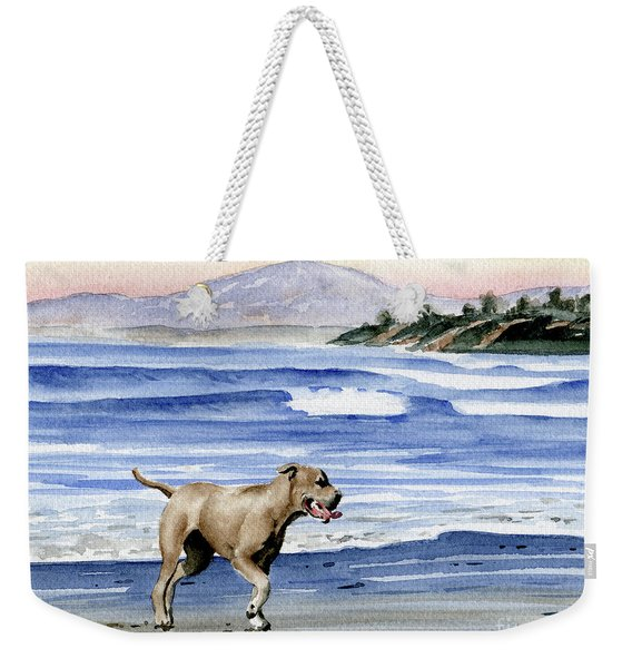 Pit Bull At The Beach  Weekender Tote Bag