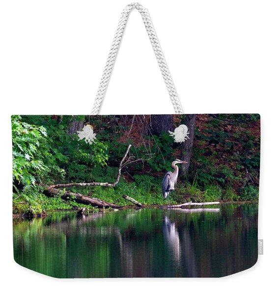 Posing Great Blue Heron  Weekender Tote Bag