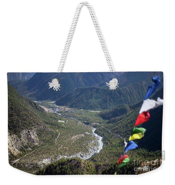 Prayer Flags In The Himalaya Mountains, Annapurna Region, Nepal Weekender Tote Bag