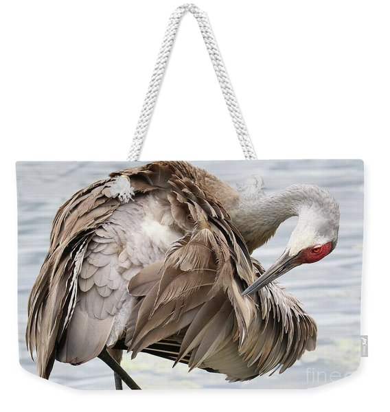 Preening Sandhill Crane Closeup Weekender Tote Bag