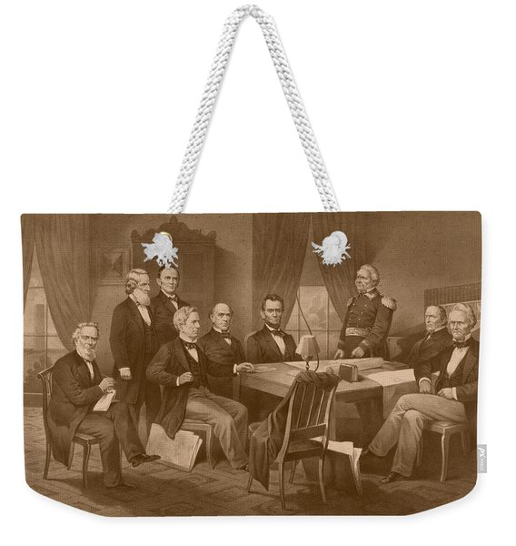 President Lincoln - His Cabinet And General Scott Weekender Tote Bag