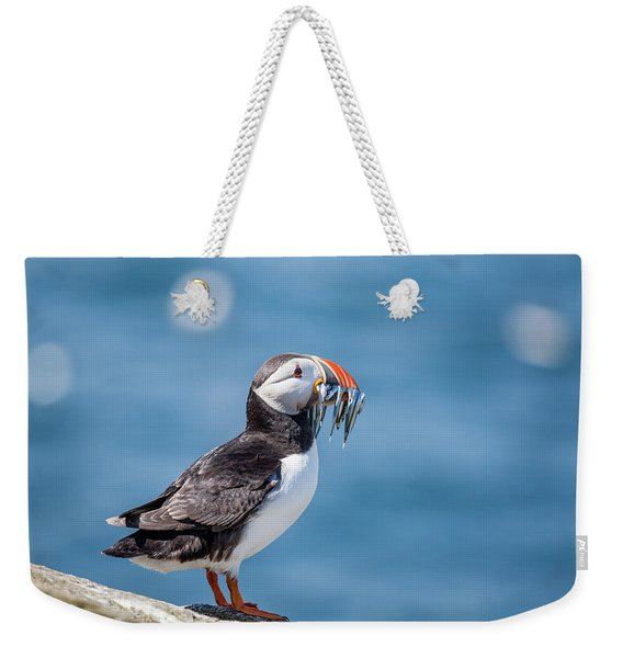 Puffin With Fish For Tea Weekender Tote Bag