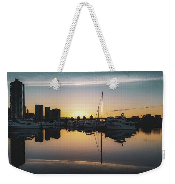 Weekender Tote Bag featuring the photograph Quayside Marina At Sunrise by Andy Konieczny