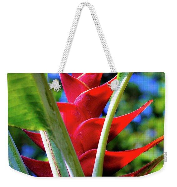 Red Heliconia Hawaii Weekender Tote Bag