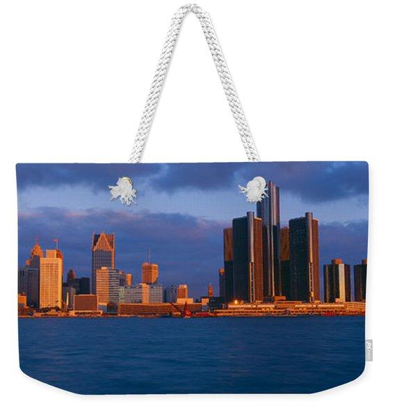 Renaissance Center, Detroit, Sunrise Weekender Tote Bag
