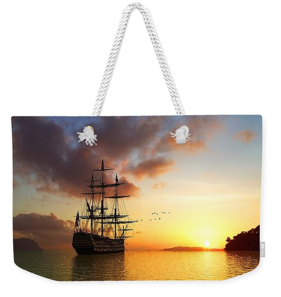 Romantic Sailing Boat On Sunset, Travel Poster Weekender Tote Bag