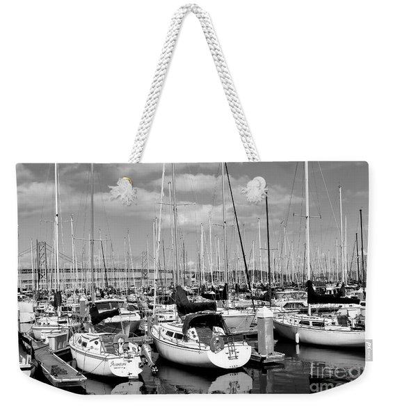 Sail Boats At San Francisco China Basin Pier 42 With The Bay Bridge In The Background . 7d7666 Weekender Tote Bag