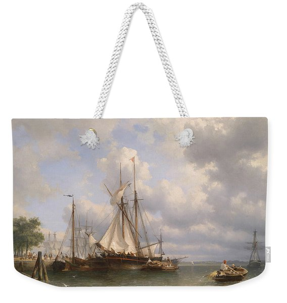 Sailing Ships In The Harbor Weekender Tote Bag