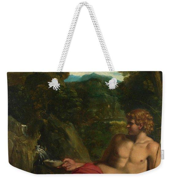 Saint John The Baptist Seated In The Wilderness Weekender Tote Bag