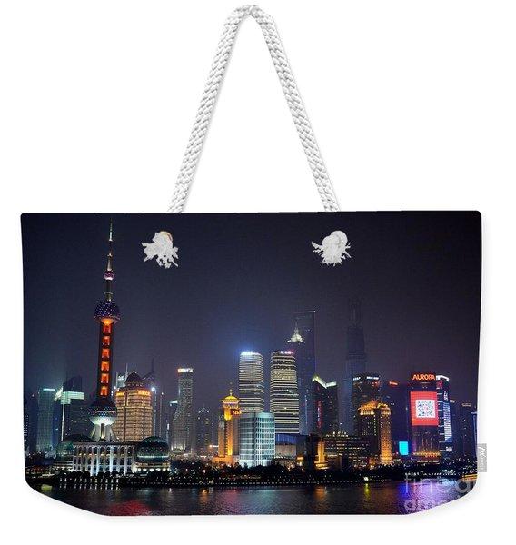 Shanghai China Skyline At Night From Bund Weekender Tote Bag