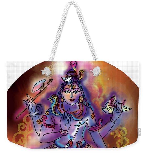 Weekender Tote Bag featuring the painting Shiva Dhyan by Guruji Aruneshvar Paris Art Curator Katrin Suter