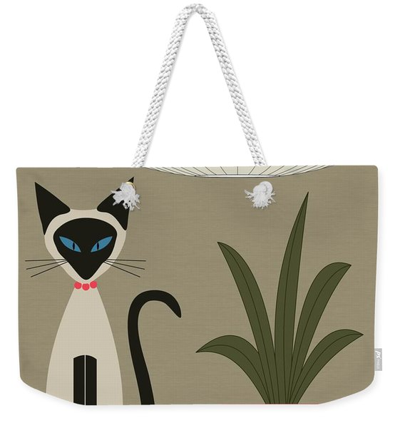 Weekender Tote Bag featuring the digital art Siamese Cat On Tabletop by Donna Mibus