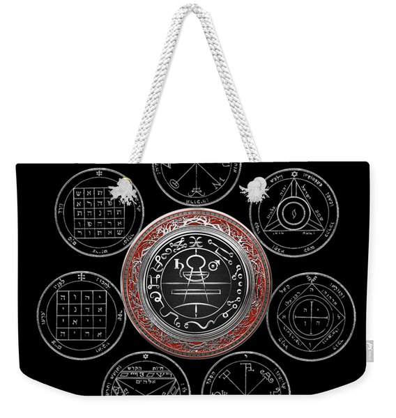 Silver Seal Of Solomon Over Seven Pentacles Of Saturn On Black Canvas  Weekender Tote Bag