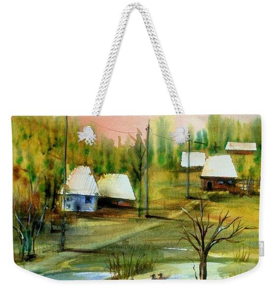 Sleepy Village Weekender Tote Bag