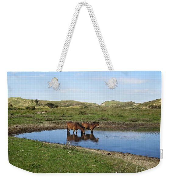 Small Lake With Wild Horses Weekender Tote Bag