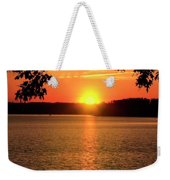Smith Mountain Lake Silhouette Sunset Weekender Tote Bag