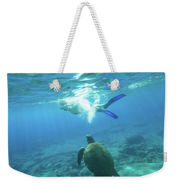 Weekender Tote Bag featuring the photograph Snorkeler Female Sea Turtle by Benny Marty