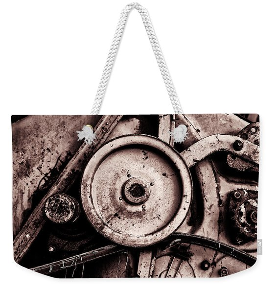 Soviet Ussr Combine Harvester Abstract Cogs In Monochrome Weekender Tote Bag
