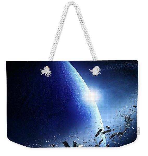 Space Junk Orbiting Earth Weekender Tote Bag