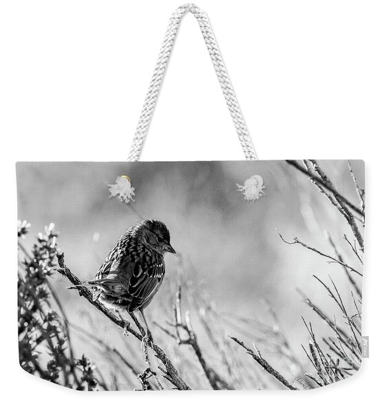 Snarky Sparrow, Black And White Weekender Tote Bag