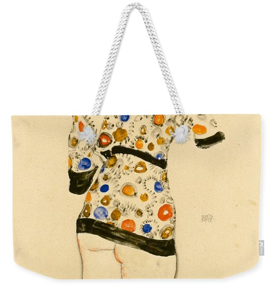Standing Woman In A Patterned Blouse Weekender Tote Bag