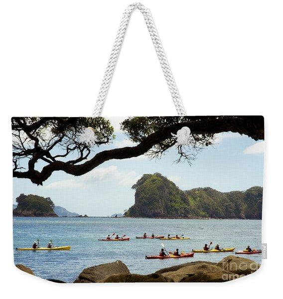 Stingray Cove, Kayakers Paddling Weekender Tote Bag