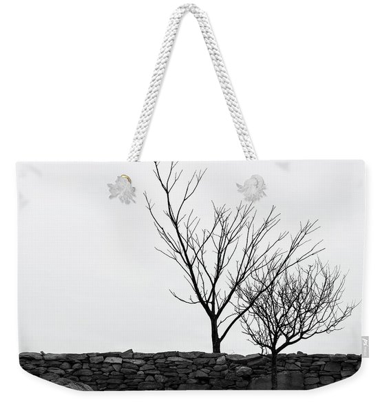 Stone Wall With Trees In Winter Weekender Tote Bag