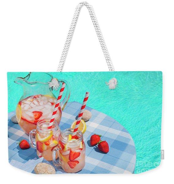 Strawberry Lemonade At Pool Side Weekender Tote Bag