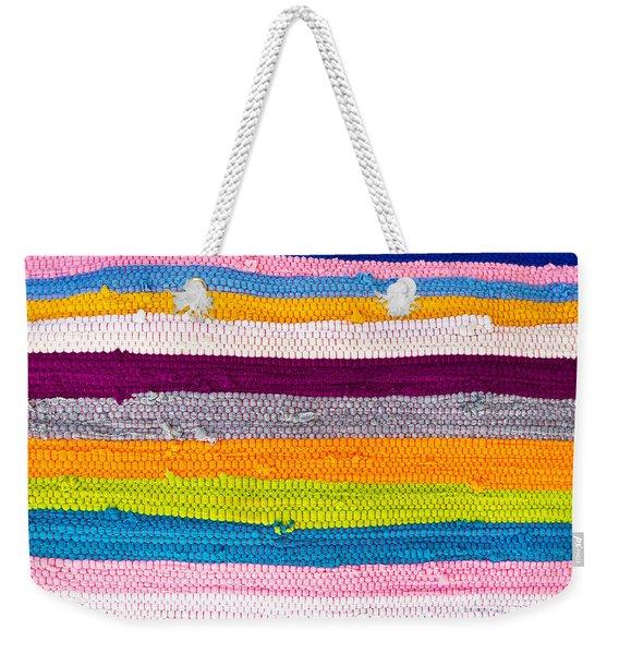 Striped Textile Weekender Tote Bag