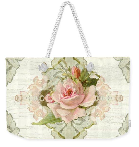 Summer At The Cottage - Vintage Style Damask Roses Weekender Tote Bag